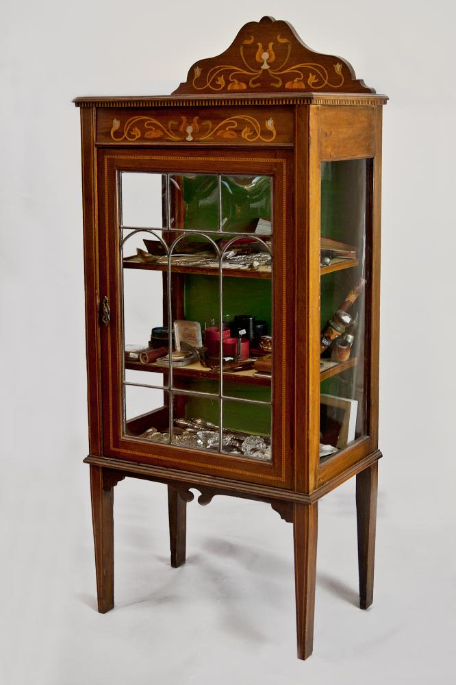 Art Nouveau Inlaid Mahogany Display Cabinet Antique