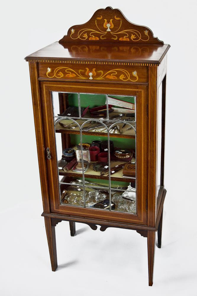 Art Nouveau Inlaid Mahogany Display Cabinet Antique