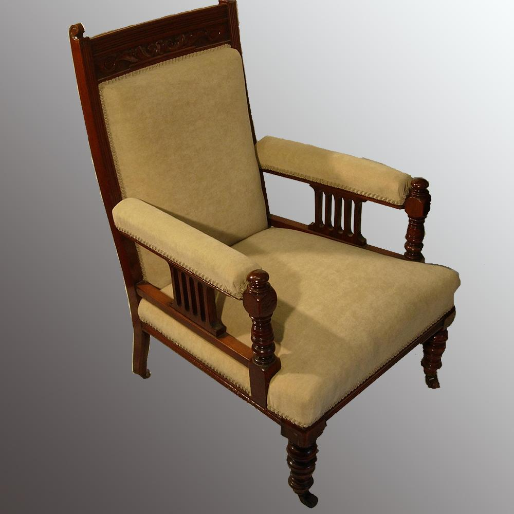 Antique Furniture : Chairs and Sofas - Edwardian Open Arm Chair. - Antique Furniture