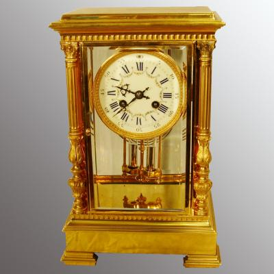 Gold plated 4 glass clock