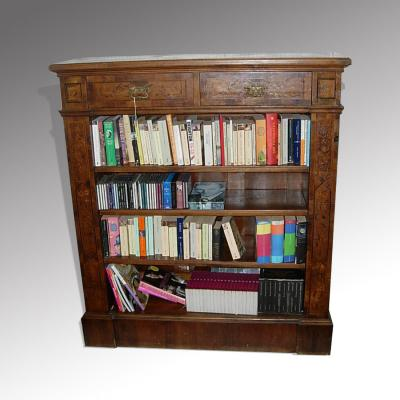 Inlaid German open bookcase