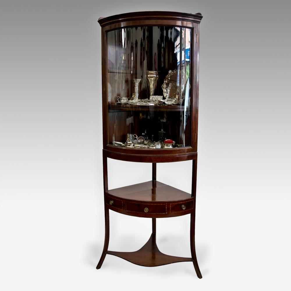 Inlaid mahogany corner display cabinet - Inlaid Mahogany Corner Display Cabinet - Antique Furniture