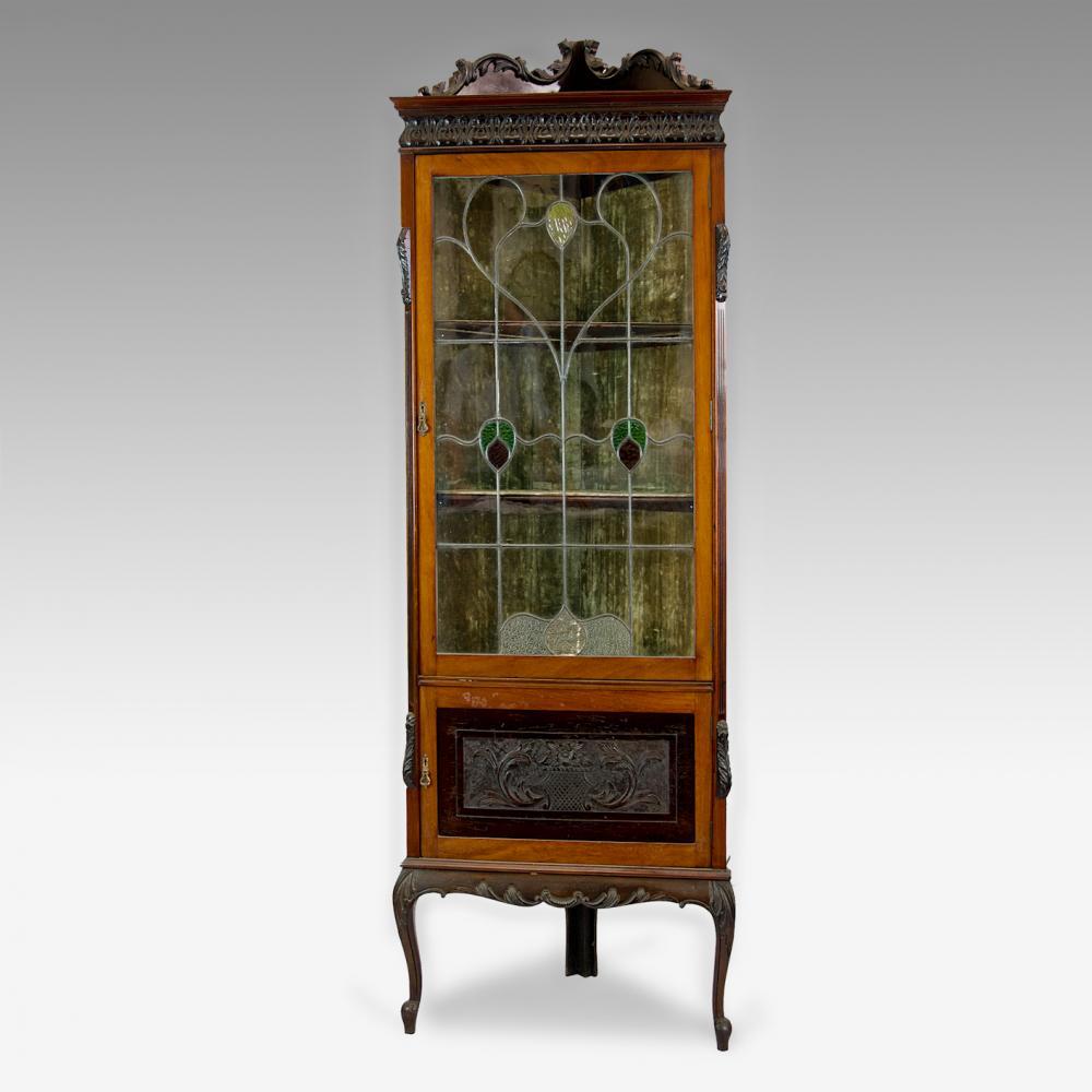 - Leaded Light Corner Display Cabinet - Antique Furniture