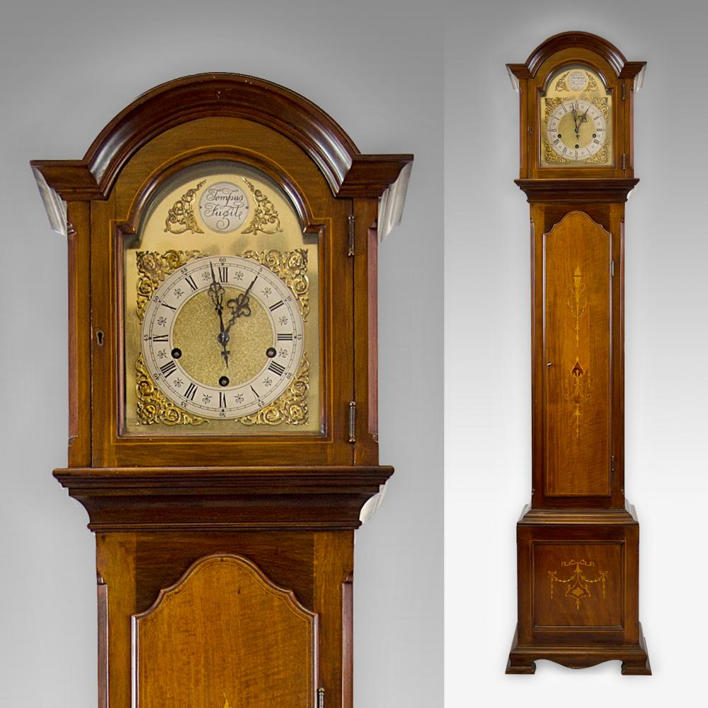 Mahogany Chiming Grandmother Clock Antique Clocks