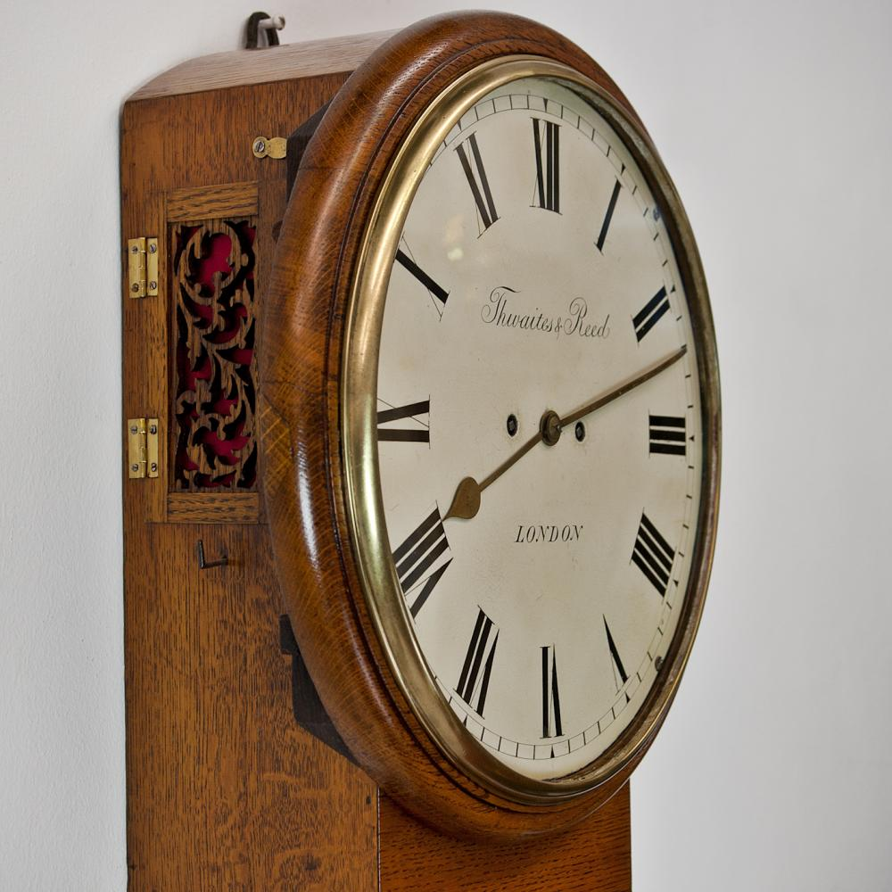Oak cased twin fusee drop-dial clock by Thwaites and Reed - Antique Clocks